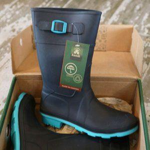 NWT KAMIK Blue RAINDROPS Pull on Boots Kids US 4